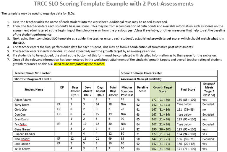 Example with two assessments trcc slos for Slo scoring template